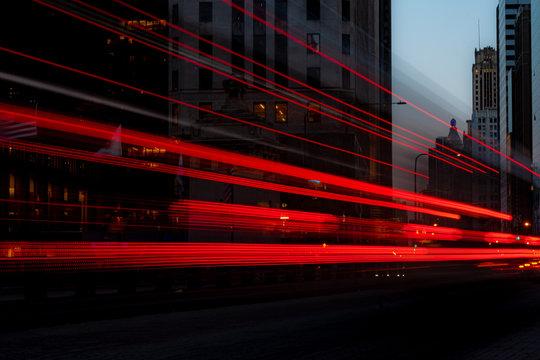 Bus driving along Michigan Avenue, Chicago, Illinois, United States