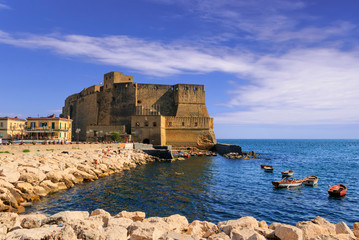 Garden Poster Napels Castel dell'Ovo (Egg Castle) a medieval fortress in the bay of Naples, Italy.