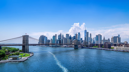 Wall Mural - panoramic view at manhattan on a sunny day