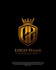 Fototapeta Initial CZ letter with shield style logo template vector obraz