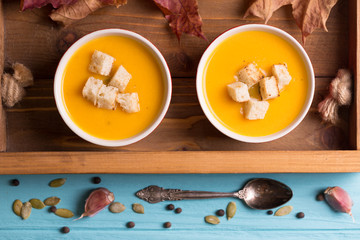 delicious and healthy pumpkin soup cream