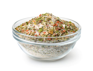 Bowl of mixed aromatic salt, spices and herbs