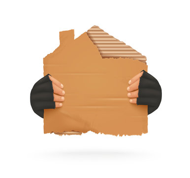 Homeless. Man holding up blank cardboard sign. Homeless holding a cardboard house. Isolated vector illustration