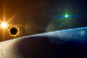 Supermassive extraterrestrial life form orbiting planet Earth and makes local solar eclipse