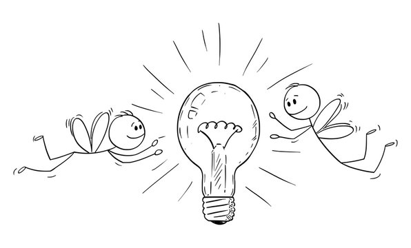 Vector cartoon stick figure drawing conceptual illustration of two men or businessmen as flies or moths attracted by light bulb and flying around it.