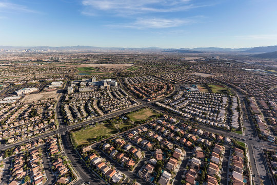 Aerial view of the suburban streets and rooftops in the Summerlin neighborhood of Las Vegas, Nevada.