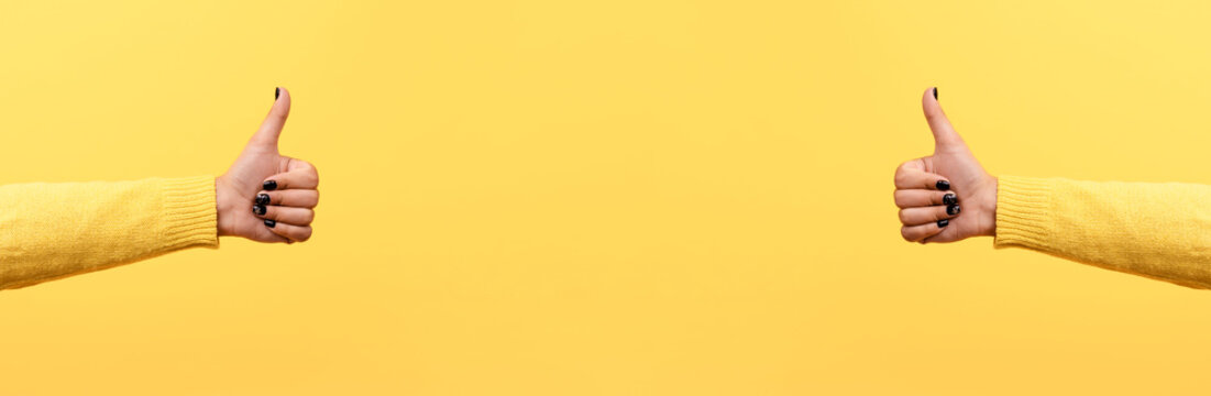 thumb up or like sign  over trend yellow background, panoramic image