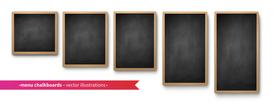 Vector collection of isolated menu boards