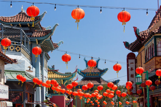 Chinese Lanterns at Old Chinatown Plaza in Los Angeles