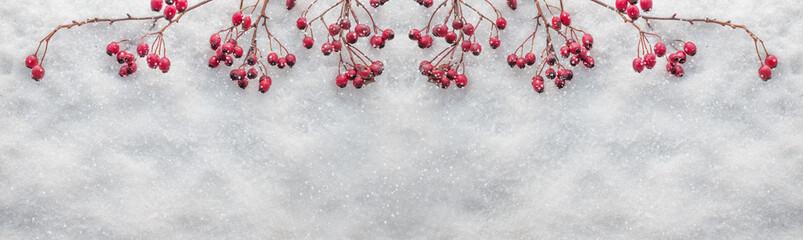 Panorama mit Schnee und Naturdeco. Wintermotiv.