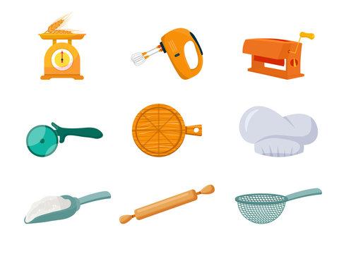 Baker tools flat vector illustrations set