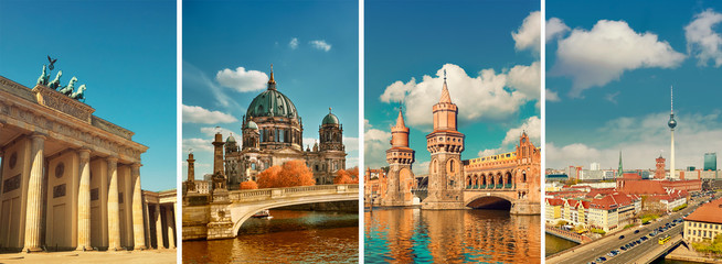 Wall Murals Berlin Berlin landmarks, toned collage
