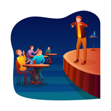 Stand up comedy flat vector illustration