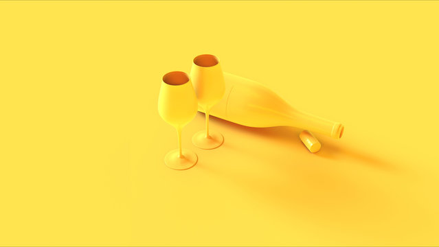 Yellow Wine an Glass Bottle with a Cork and Wine Glasses Stop 3d illustration 3d render