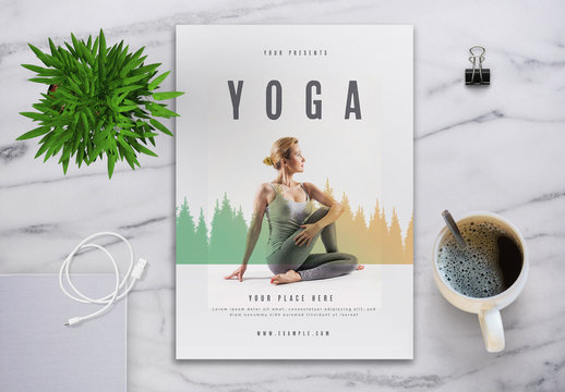Event Flyer Layout with Tree Silhouette and Gradient Element
