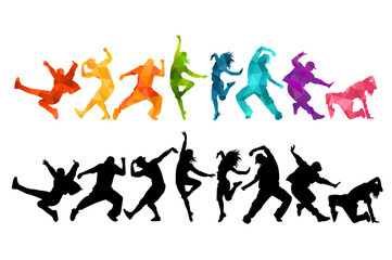 Detailed vector illustration silhouettes of expressive dance colorful group of people dancing. Jazz funk, hip-hop, house dance. Dancer man jumping on white background. Happy celebration