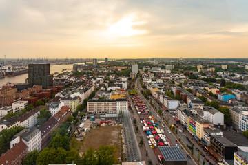 View of St. Pauli at dusk, Hamburg, Germany