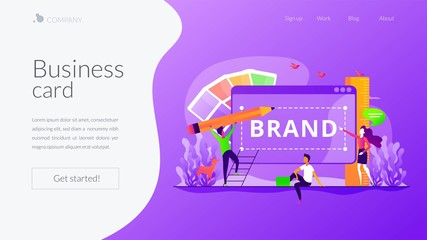 Corporate identity, company logo, name creating. Designers and marketers teamwork. Brand identity, business card, social media advertisement concept. Website homepage header landing web page template.