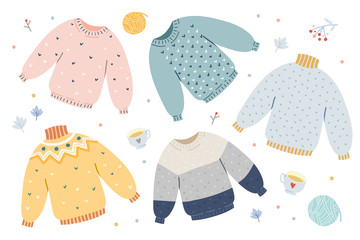 Handdrawn vector illustrations of warm winter and autumn woolen sweaters in pastel scandinavian style colors. Trendy flat design elements of winter clothes. Christmas holidays mood.