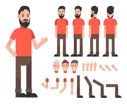 Man character with beard. Front, side, back view animated characters. Vector illustration.