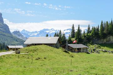 Rural chalets at Engstlenalp over Engelberg on Switzerland