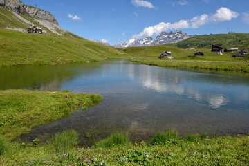 Mountain lake at Melchsee-Frutt in the Swiss alps