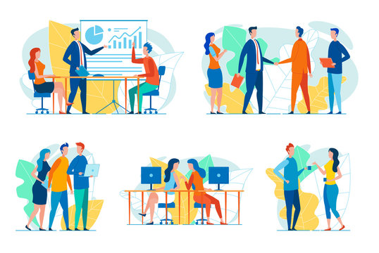 Businesspeople in Work Situations Vector Set