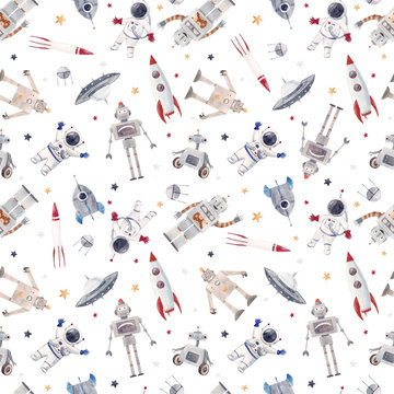 Watercolor baby space pattern