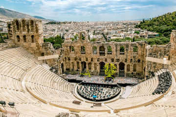 View of the Amphitheatre - the Odeon of Herodes Atticus at the Acropolis in Athens.