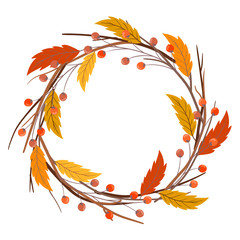 Hand drawn circle frame of autumn branches. Vector