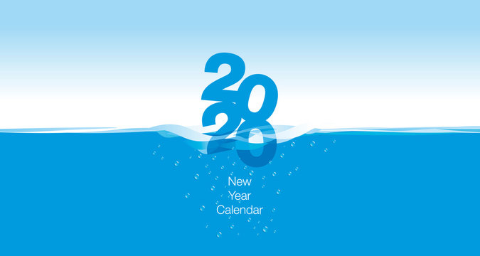 2020 New Desk Calendar Cover planner template wave water blue background