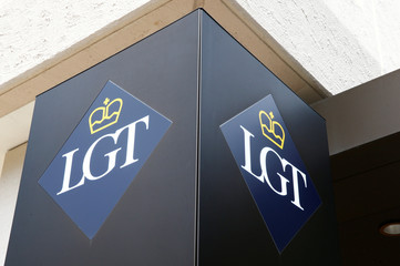 Logo of Liechtenstein's LGT bank is seen in Vaduz