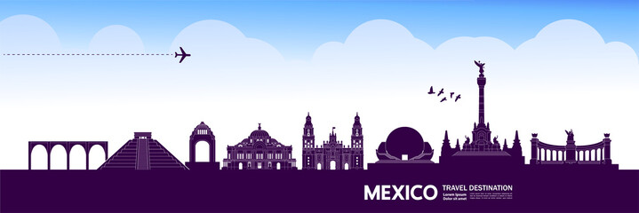 Fotomurales - Mexico travel destination grand vector illustration.