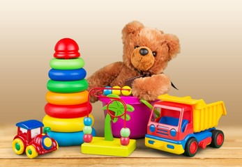 Isolated toys collection color play fun red