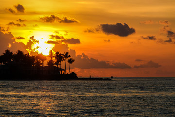 Fotobehang Schip Colorful sunset in Key West. Miami, Florida