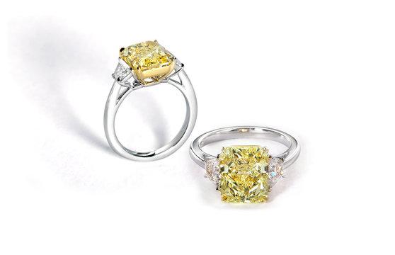 Yellow Cushion Cut Diamond Solitaire