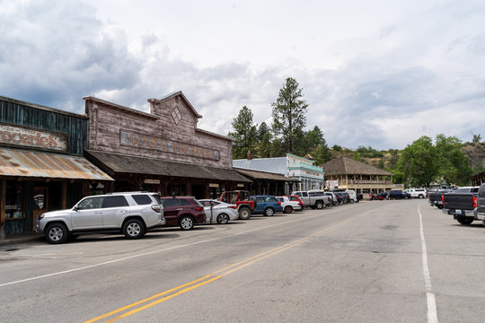Winthrop, Washington - July 5, 2019: Street view of downtown Winthrop, a small wild west theme town in the Cascade Mountains of Washington State.