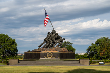 Arlington, Virginia - August 7, 2019: United States Marine Corp War memorial depicting flag planting on Iwo Jima in WWII (World War 2)
