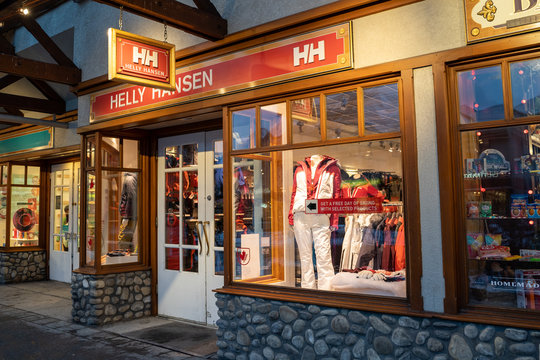 Banff, Alberta Canada - Janurary 19, 2019: Exterior view of a Helly Hansen, a ski and outdoor gear shop based out of Norway, specializing in high end outdoor apparel