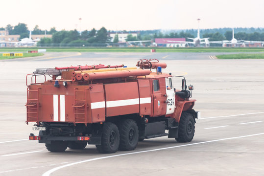 Vnukovo airport, Moscow. Fire truck at the airport on taxiways.