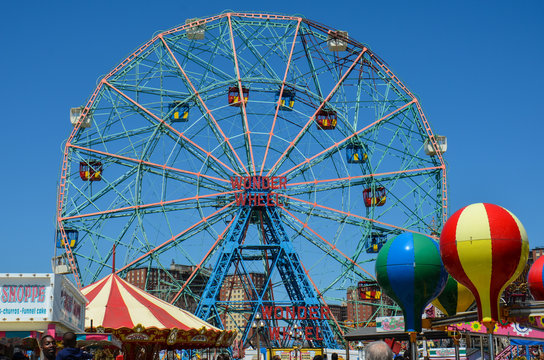 Brookyln, New York - May 10, 2018: View of the Wonder Wheel, a famous ferris wheel in Luna Park on Coney Island