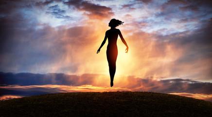Fairy flying girl. Levitation
