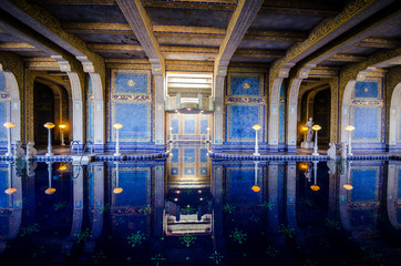 San Simeon, California - August 7, 2018: Interior view of the famous luxury roman pool inside the Hearst Castle