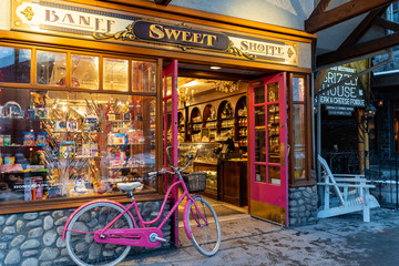 Banff, Alberta Canada - Janurary 19, 2019: Exterior view of the Banff Sweet Shoppe, a candy store on the famous, and touristy Banff Avenue