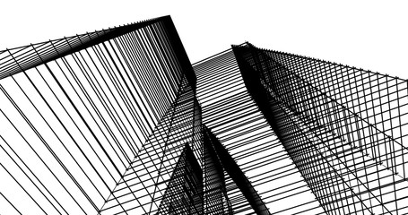 Modern building architecture 3d illustration Fototapete
