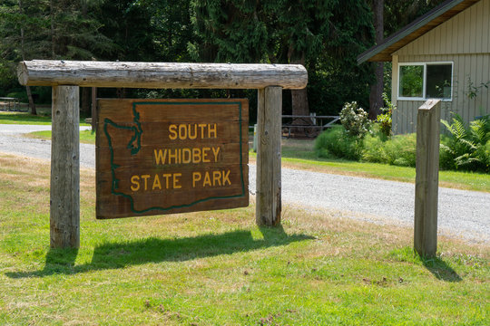 Freeland, Washington - July 6, 2019: Sign for South Whidbey State Park, located on Whidbey Island in Island County, WA