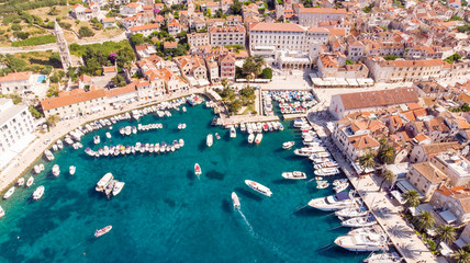 The Hvar harbour in Croatia from above Fotomurales