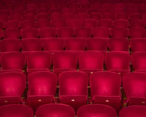 Red Velvet Seats in a Restored 1920's Movie Theatre