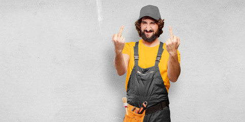handyman worker loser and angry concept