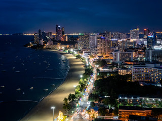 Pattaya, Thailand - August 1, 2019: Cityscape and skyline of Pattaya City in Thailand with views of the Skyscrapers, Hotels and apartments.